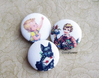 3 Sewing Buttons - Back to  school - Kids Dog - 28mm