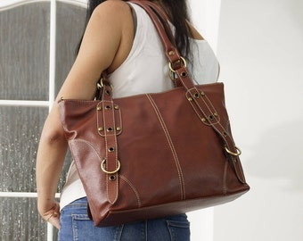 "Mahogany Brown Leather Handbag Tote Cross-body Bag Nora in tan fits a 15"" Laptop // SALE"