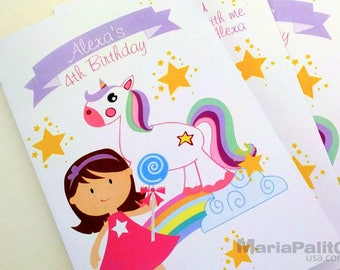 6 Unicorn Coloring Books, Unicorn Party Children's Activity Booklet , Personalized Party Favor Coloring Book A1302