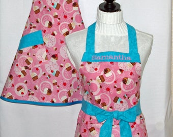 Matching Pink Aprons, Girl Cupcake Youth, Child, Little Sister, Mommy, Tween, Custom Personalize With Name, No Shipping Fee, Ships TODAY 528