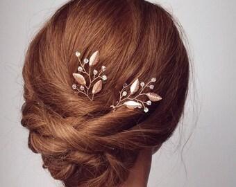Rose Gold Hair Vine, Rose Gold Hair Comb, Bridal Hair Pins, Wedding Hair Piece, Leaf Vine, Vine Hair Pins, Bridal Accessory, Headppiece
