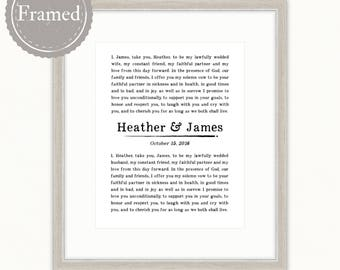 Framed Wedding Vows Art Print, personalized anniversary gift