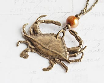 Antiqued Brass Plated Crab Pendant Necklace with Freshwater Pearl Accent on Simple Chain