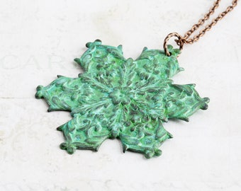 Large Verdigris Patina Snowflake Pendant Necklace on Antiqued Copper Plated Chain (Hand Patina)