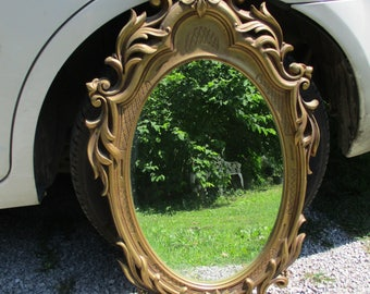 "FREE SHIPPING, Antique Look Ornate Victorian Designs Large Syroco Style Gold Tone Framed Wall Mirror, 33.5"" x 18.75"""
