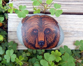 BEAR MEDICINE Hand Painted Stones Brown Bear Rock Art Animals Spirit Guide Artwork Stone ART Paperweight Altar Tools Nature Paintings
