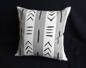 "Hand painted [Pair] of 18 x 18"" Grey and white African mud cloth inspired Handmade Artisan cotton throw pillows"