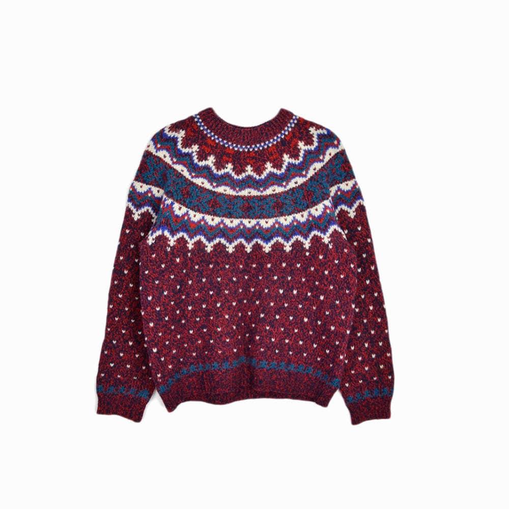 Vintage Woolrich Fair Isle Sweater in Red & Teal / Winter Wool ...