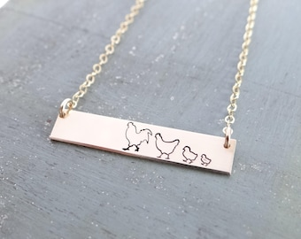 Chicken Family Bar Necklace. Rooster, Hen & Chicks. Add Custom Name or Words. Hand Stamped Layering Bar Necklace. Rose Gold, Gold, or Silver