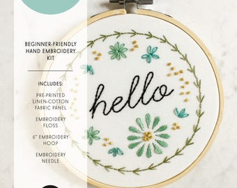 Hello Embroidery Pattern | Modern Hand Embroidery Kit | Beginning Embroidery | Embroidery Design | Home Decor | Wedding Gift Idea