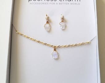 Moonstone Necklace and Earring Gift Set