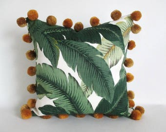 Pillow Cover Swaying Palms Oversize Giant Pom Pom Trim Tommy Bahama Banana Leaf Gold Black or Off White Pom Poms