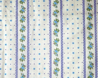1-1/2 YARDS, Muslin, White Blue Stripe Floral Print, Fashion or Craft Fabric, Tiny Flowers, Green Leaves, Lightweight Cotton Polyester, B4
