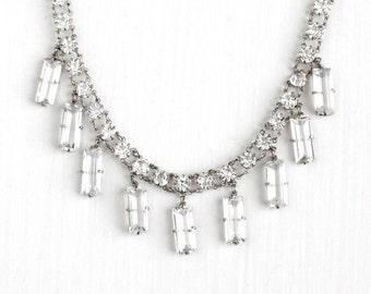 Sale - Vintage Art Deco Silver Tone White Rhinestone Necklace - 1930s Round & Baguette Glass Stone Bridal German Wedding Costume Jewelry