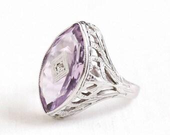 Sale - Amethyst Diamond Ring - 1920s Vintage Art Deco 20k White Gold Petite Size 3 - Filigree Marquise Cut Purple Gemstone Fine 20KT Jewelry