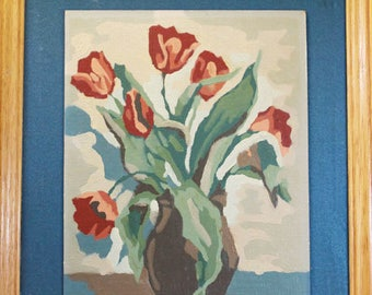 Paint by Numbers Pink Red Tulips in Oak Frame, Vintage PBN