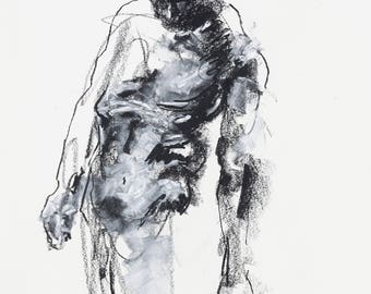 "Expressive and Bold Figure Drawing - 11 x 14"",  fine art - Figure 33 - charcoal and pastel on paper - original drawing"