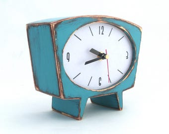 NO TICKING Desk Clock Turquoise Wood Table clock, Unique Wooden clock, Cute Handmade SILENT Mantle clock, Spring blue green gift for Mom
