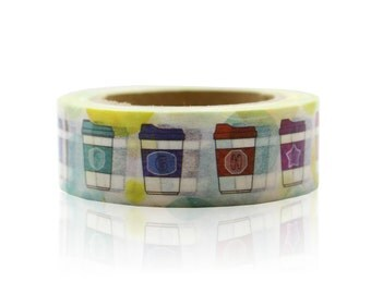 Coffee Cup Washi Tape Craft Supplies Planner Stickers Erin Condren Scrapbooking Decorative Tape Love My Tapes