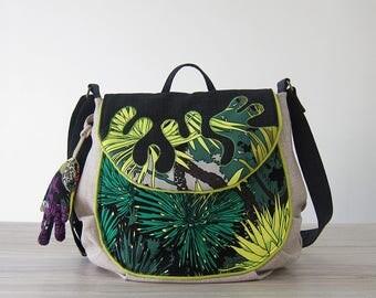 Tropical Green Flora Messenger Bag, Crossbody Bag, Green Bag, Shoulder Bag, Green Sling Bag