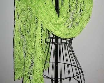 Silk and Cashmere Knitted Lace Wrap in Spring Green