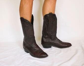 Vintage Burgundy CORRAL Men's Cowboy Boots, size 8EE