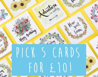 Pick any 5 Cards - choose your designs. Inspirational quotes. Motivational Cards. Encouragement cards. Blank cards. Sunshine for Breakfast.