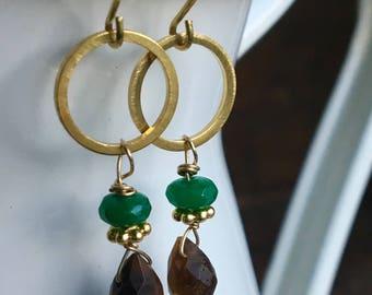 Tiger Eye and Malachite Brass Earrings, Brass Hoop Earrings, Dangle and Drop Earrings, Etsy, Etsy Jewelry