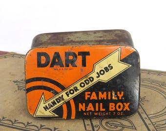 Dart Family Nail Box Kress Stores Vintage Storage Home Decor