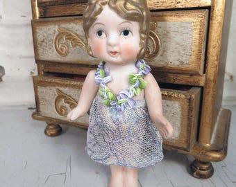 Vintage Bisque Doll Frozen Charlotte Antique GOLD HAIR Lavender Lace Dress Flapper Girl