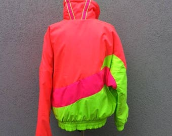Vintage 90s Neon Ski Jacket, Sun Ice, Colorblock, Pink and Green, Winter Jacket, Outerwear, Unisex Jacket, Men's Fashion, Women's Fashion