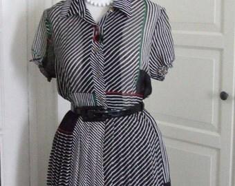 60s Dress, Full Skirt, Sheer, Chiffon, Black and White with Cherry Print, Size S/M
