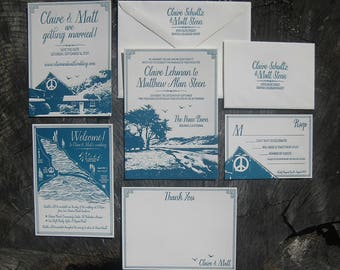 Custom Letterpress Wedding Invitation Suite with YOUR WEDDING VENUE!