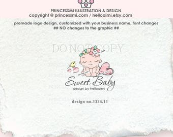 1334-11  love heart baby, sweet baby logo, newborn logo, business card, banner set, newborn photography, business logo boutique watermark