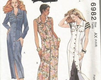 Vintage McCall's 6982 Misses Dress Pattern SZ 4-8