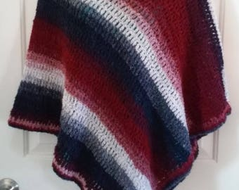 Red, White and Blue Crochet Poncho  - Great for New England Patriots NFL Football Fans