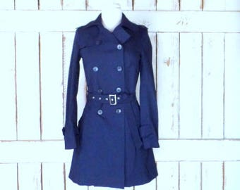 90s vintage blue stretch fitted peacoat jacket/womens navy blue double breasted coat/nautical sailor pea coat