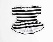 monochrome striped PEPLUM top / toddler / hipster baby clothes / jersey knit / black and white