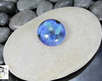 Periwinkle Romance - Lampwork Glass Cabochon - 16mm - Jewelry Making Supply
