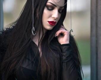 Crescent Moon Headpiece,   Moons headband Moon Tiara, Moon Chain Headband, Wiccan, Wicca, Pagan, Fairy