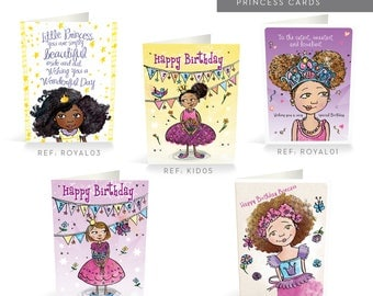 Multicultural Princess Cards, Happy Birthday Card, Multicultural Cards, Greeting Card, Birthday, Afro, Mixed Race, African American Girl