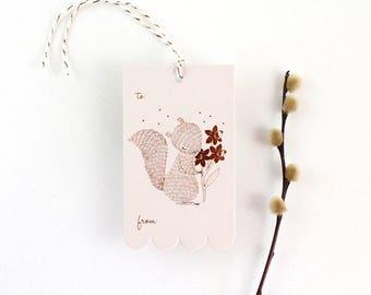10 Copper Foil Tags - Squirrel & Daffodil