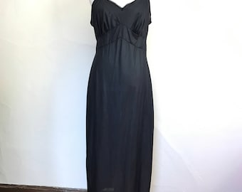 Vintage 1960s/1970s Long Black Nylon Slip Nightgown // Opalaire // Size 40 Tall XL