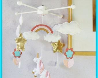 Unicorn Mobile, Unicorn Nursery, Baby Girl Mobile, Magic Unicorn, Sweet Unicorn Rainbow and Flower, Pink White Aqua Blue and Gold