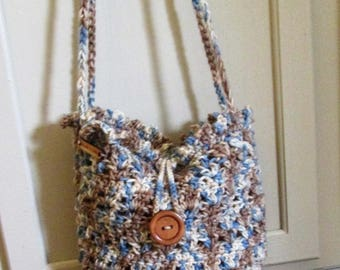 Fully lined crochet hobo purse, mixed browns and blues, medium size