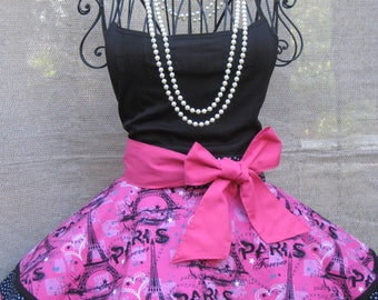 Paris Vacation with Black and White Polka Dots, Vintage Inspired, Pin Up, Glamour Fancy Hostess Half Apron