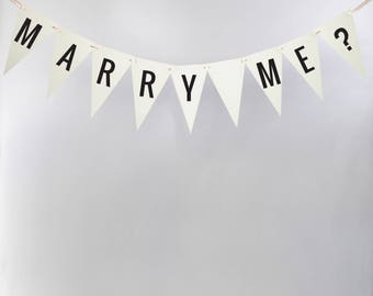 Marry Me Bunting   Handcrafted Proposal Banner   Engagement Garland   Will You Marry Me? Sign 3131 BNTG