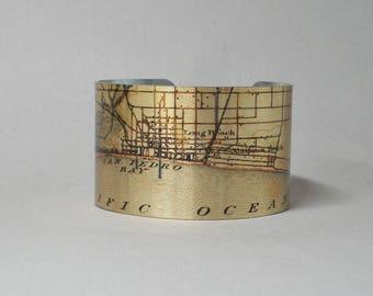 Map Bracelet Long Beach California Unique Gift for Men or Women