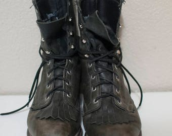 Charcoal/faded black fringe leather ankle boots, size 5.5