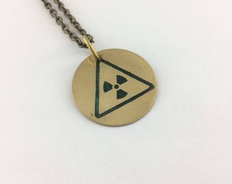 Radioactive necklace, Nuclear jewelry, hazard pendant, science jewelry, geekery accessories, hazard necklace, physics jewelry, sci fi, Toxic